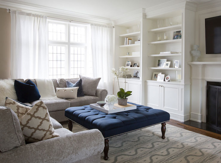Navy Tufted Ottoman Transitional Living Room Flax Design