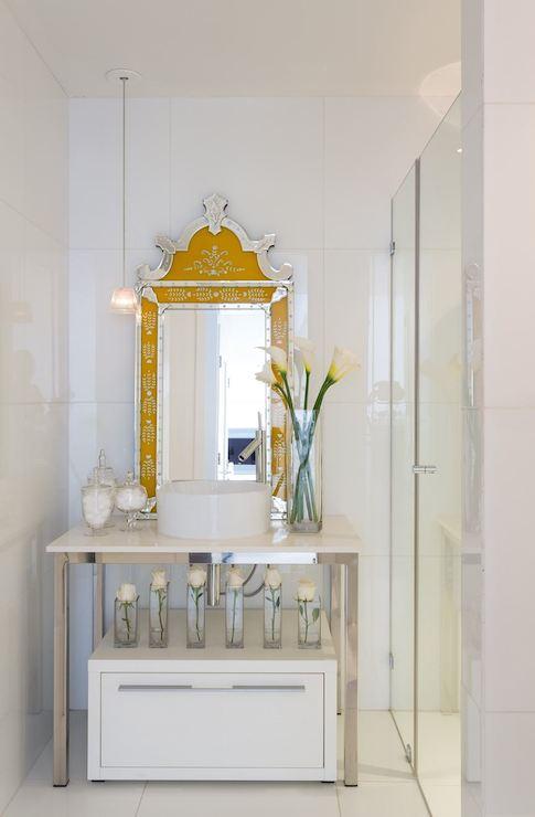 Yellow Vanity Mirror Contemporary Bathroom Philippe