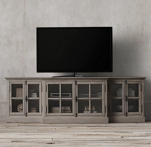 French Casement Grey Glass Media Console