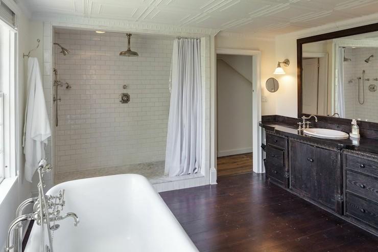 open walk in shower cottage kitchen