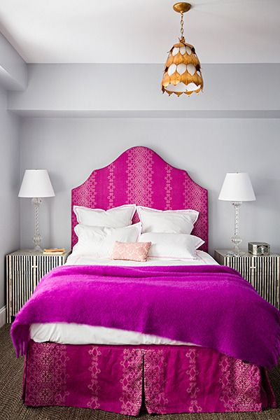 Fabulous Bedroom Features Gray Walls Framing A Hot Pink Print Headboard With Matching Bedskirt On Full Bed Dressed In Fuchsia Blanket And Damask Pillow