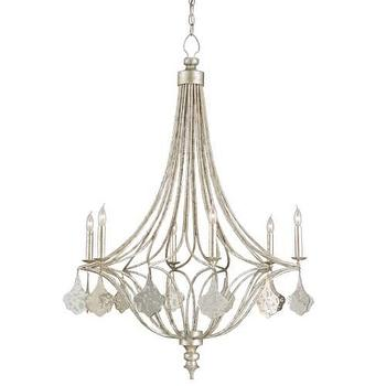 Currey And Company Lavinia 6 Light Silver Chandelier