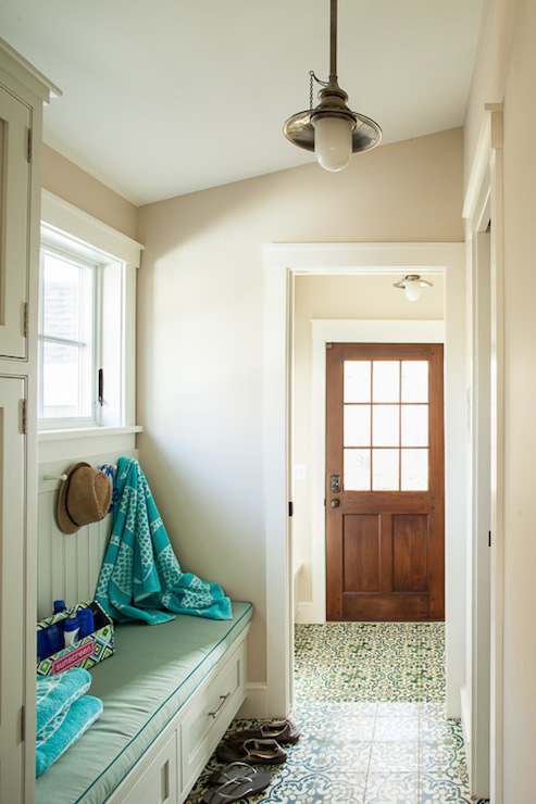 Foyer With Sloped Ceiling Cottage Laundry Room Liz Levin Interiors