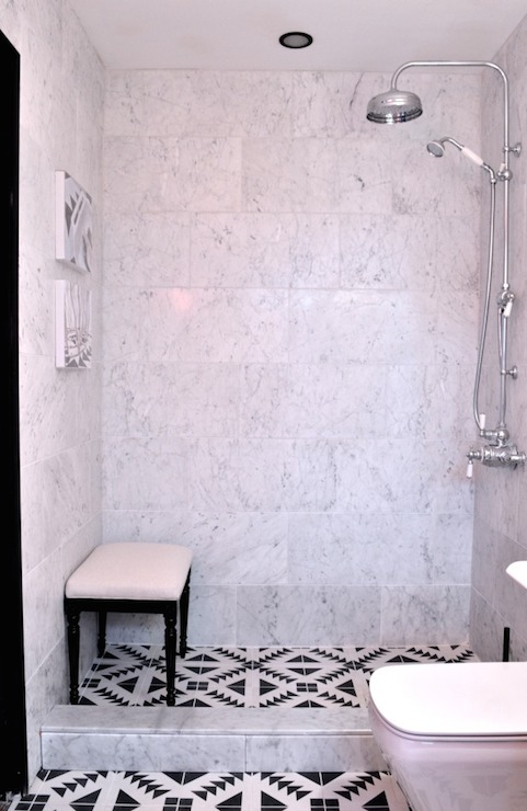 Black And White Mosaic Tiles Eclectic Bathroom Elle Decor
