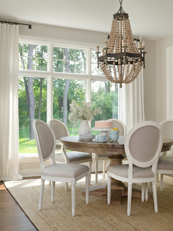 Gray French Dining Chairs Transitional Dining Room