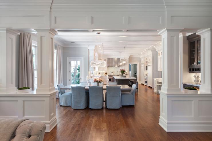 Interior Columns Transitional Dining Room Blue Water