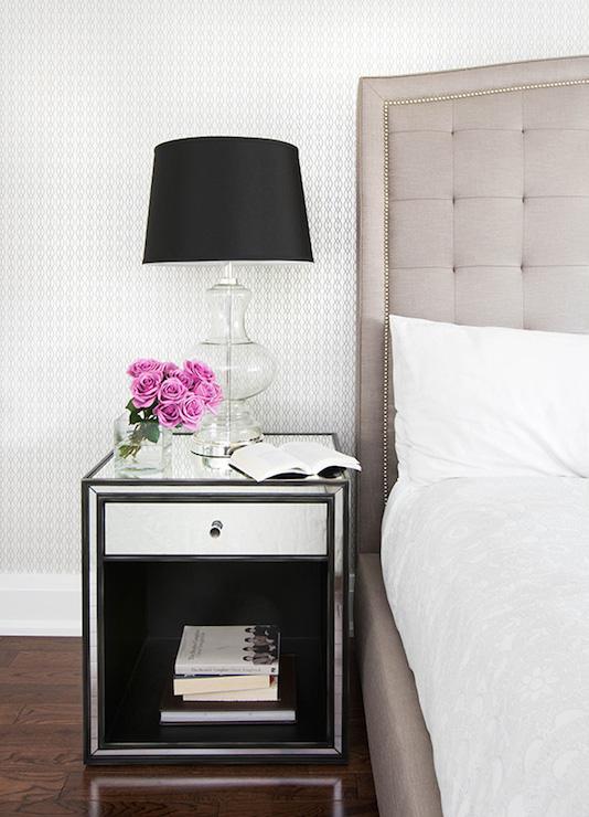 mirrored nightstand transitional
