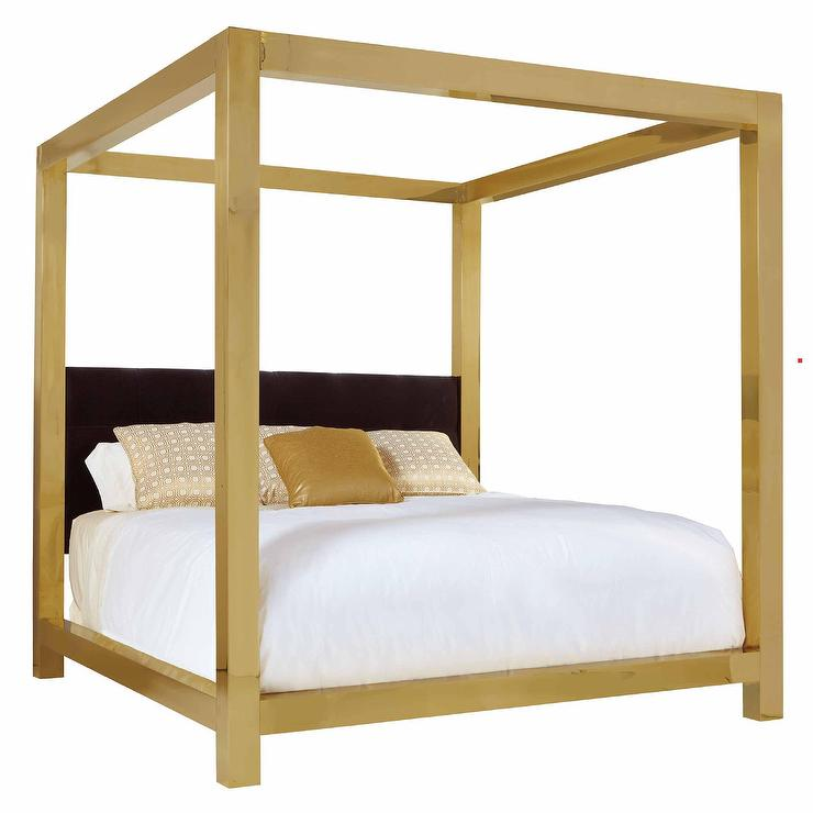 Ivory Upholstered Brass Frame King Bed