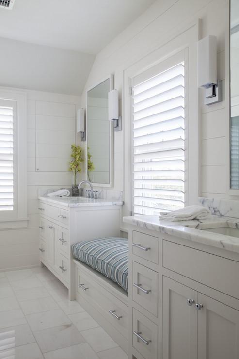Window Seat Between Washstands Transitional Bathroom