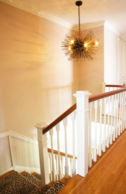 Staircase Lighting Ideas Contemporary Entrance Foyer Cuff Home | Square Rug For Stair Landing | Area Rugs | Stair Treads | Handrail | Flooring | Mat