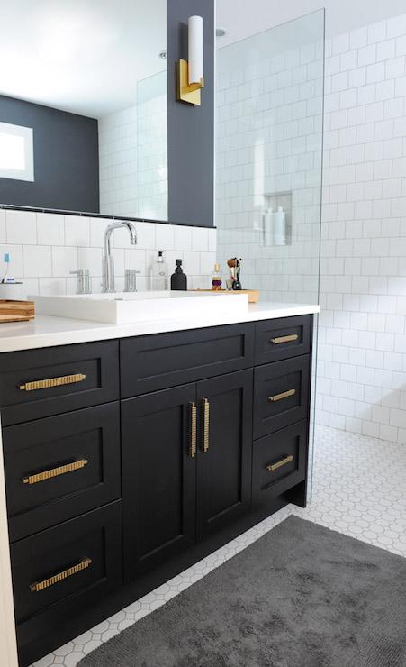 black bathroom vanity with gold hardware - vintage - bathroom