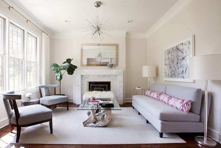 Gray Armless Sofa Contemporary Living Room Tracy Hardenburg Designs