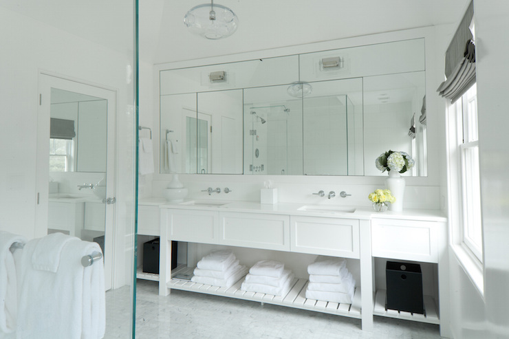 gray bathroom vanity with shelf design ideas