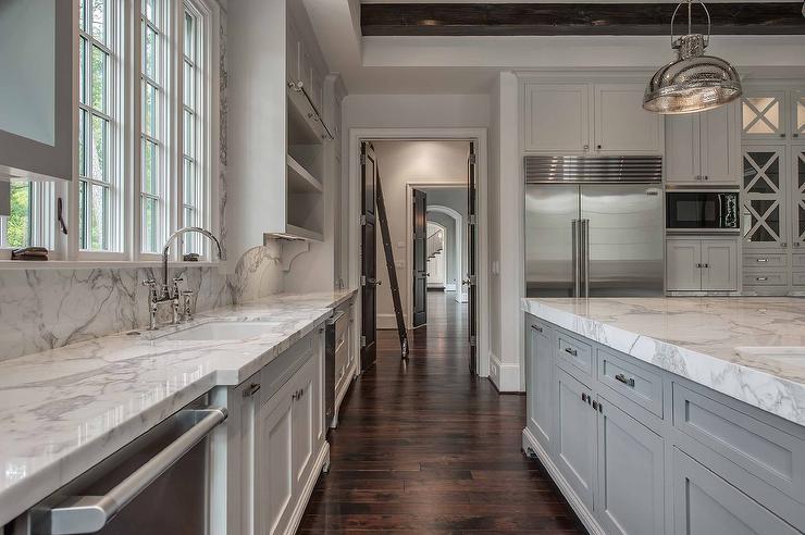 Kitchen Sink Between Dishwashers Transitional Kitchen