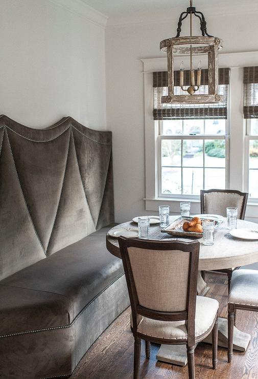 Gray Dining Settee. gray velvet dining chairs design ideas. tufted ...
