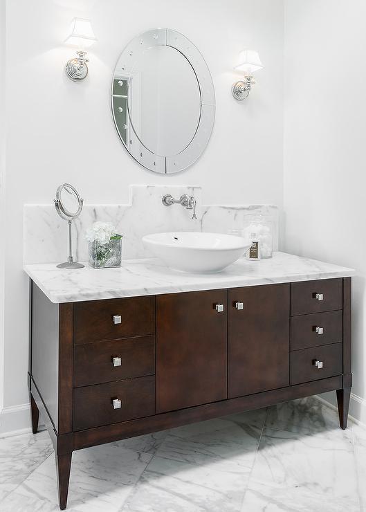 dark brown footed bathroom vanity - transitional - bathroom