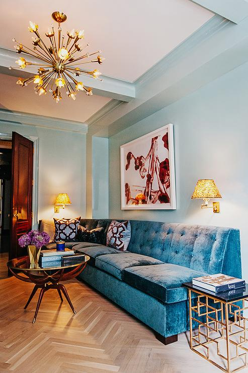 blue velvet tufted sectional eclectic