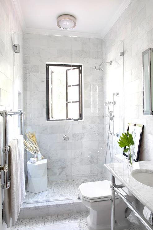 Shower With French Windows Transitional Bathroom