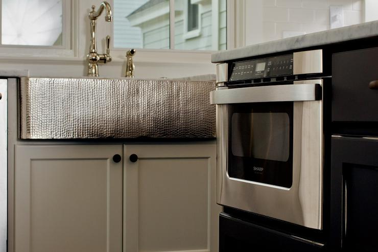 Kitchen With Hammered Apron Sink Transitional Kitchen