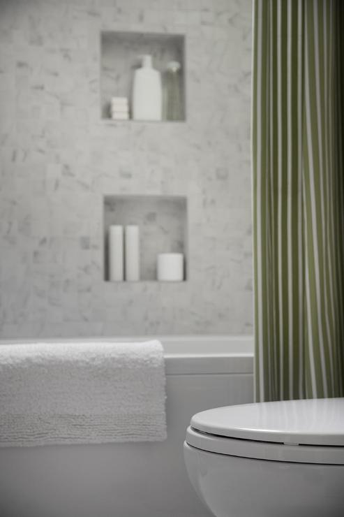 Shower With Green Stripe Curtain Cottage Bathroom