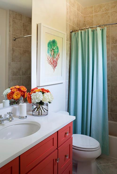 turquoise gingham shower curtain
