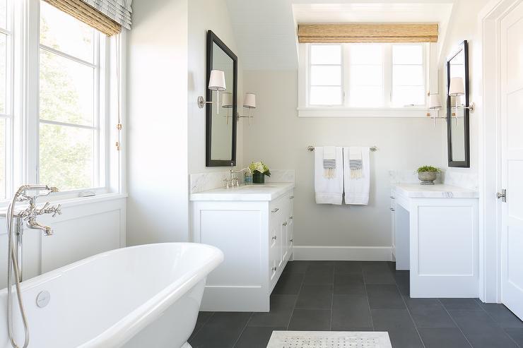 White Bathroom With Slate Floor Transitional Bathroom