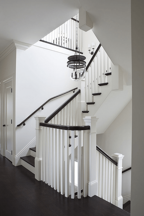 White Staircase With Brown Hand Rail Transitional Entrance Foyer | Black And White Stair Railing | Wall | Wrought Iron | Handrail | Victorian | Contemporary