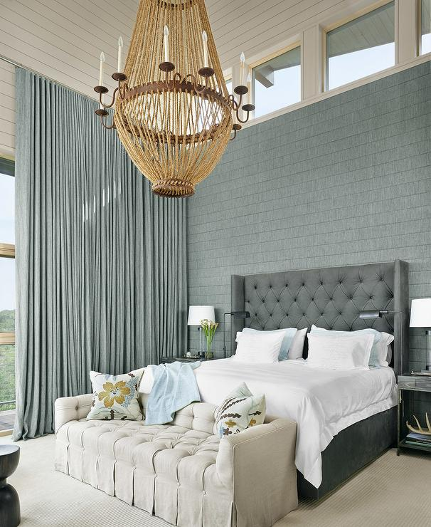 blue and grey bedrooms with wainscoting