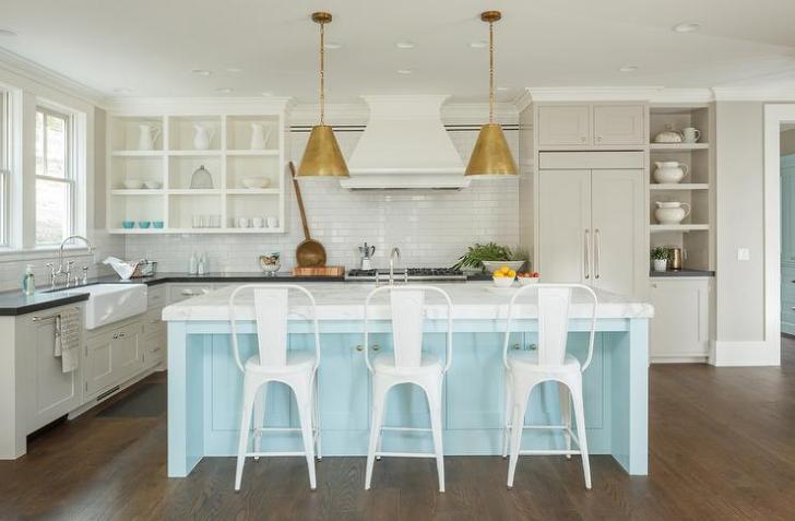 Blue Kitchen Island White Cabinets Dark Wood