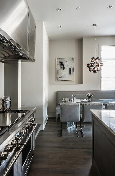 Gray Dining Nook Contemporary Kitchen