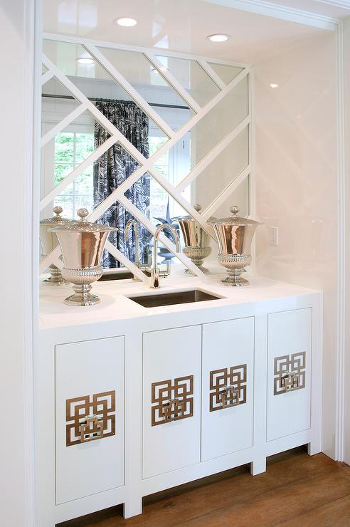Wet Bar Cabinets with Geometric Hardware   Transitional   Living Room Wet Bar Cabinets with Geometric Hardware