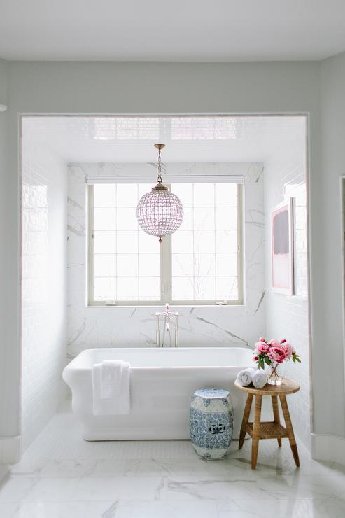 Tub Nook With Chandelier Transitional Bathroom