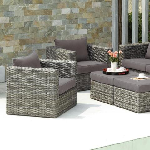 Upton Home Brixton Gray Outdoor Wicker Chair and Ottoman 4pc Set