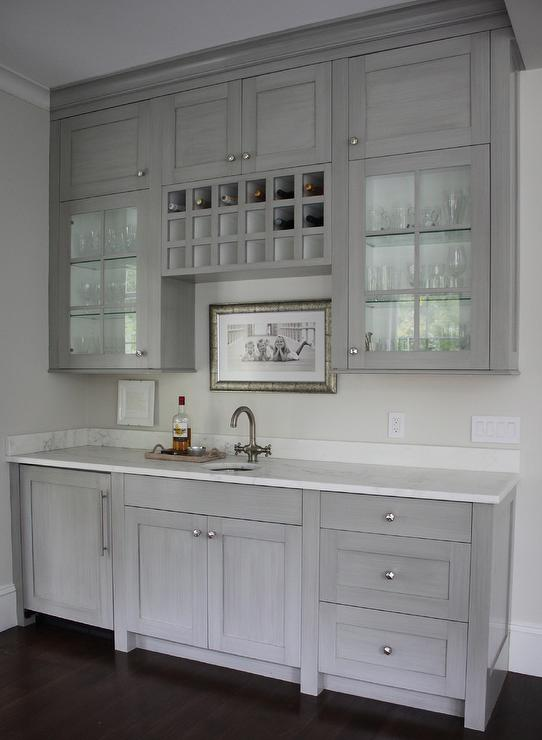Grey Butlers Pantry With Built In Wine Rack Transitional Kitchen
