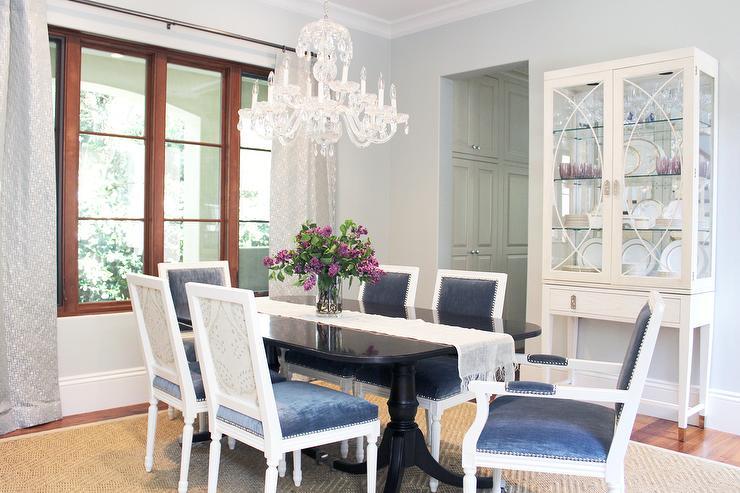 Blue Dining Room Design Transitional Dining Room