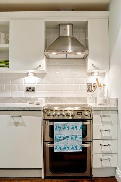 White Beveled Kitchen Subway Tiles Transitional Kitchen