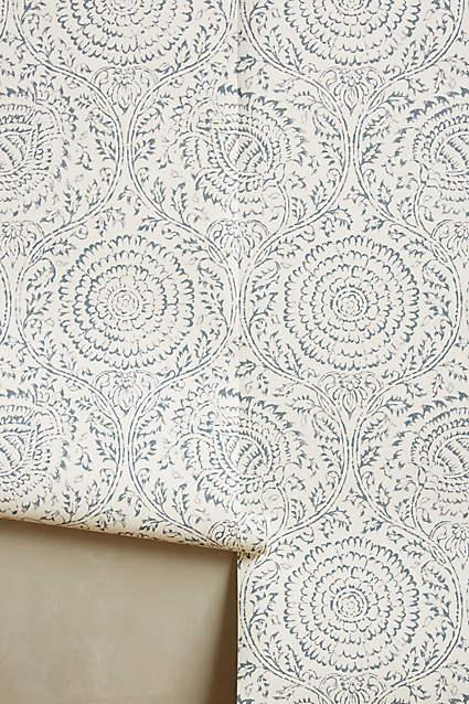 Pergola Indigo Floral Pattern Wallpaper