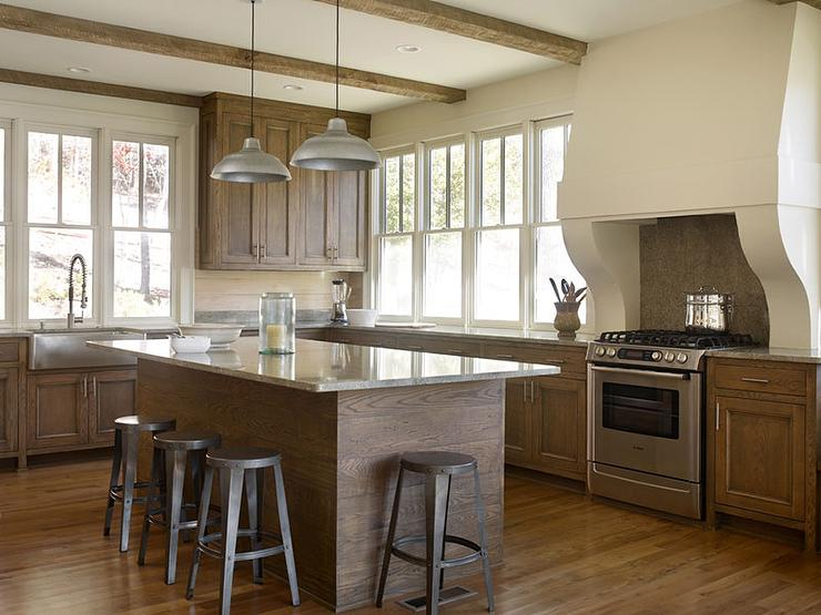 Stained Oak Kitchen Cabinets With Gray Granite Countertops