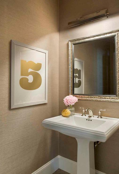 powder room with picture light