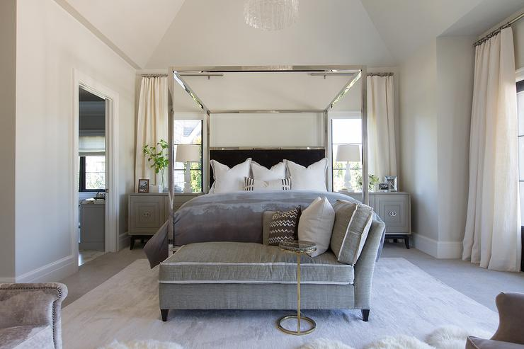 Chrome Canopy Bed With Black Headboard Transitional