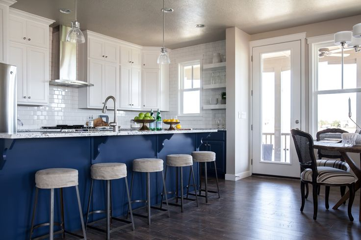 Blue Kitchen Island With Blue And Grey Granite Countertops Transitional Kitchen