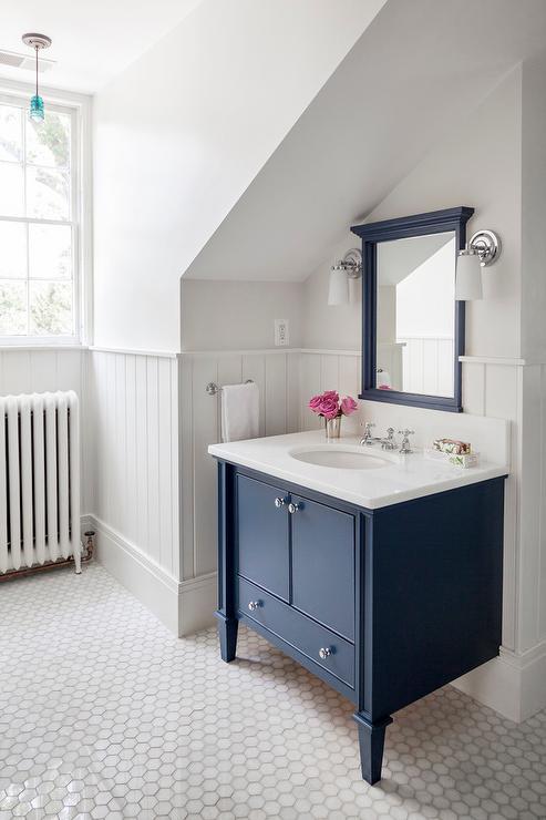navy bathroom walls design ideas