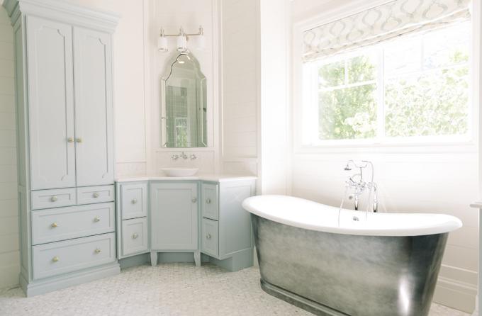 Blue Painted Bathroom Cabinets Transitional Bathroom