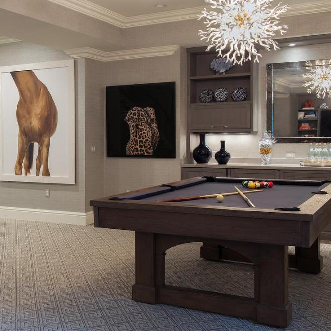Gray Bat Room With Pool Table