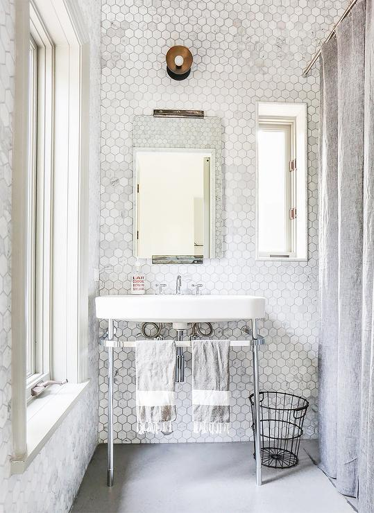 marble hex tiled bathroom walls - transitional - bathroom