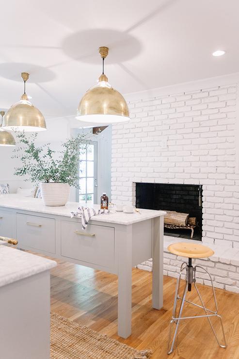 Kitchen With White Brick Fireplace Transitional Kitchen