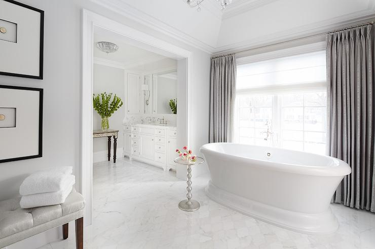 White Bathroom With Grey Curtains Transitional Bathroom Benjamin Moore Moonshine