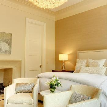 Gold Grcloth Bedroom Accent Wall