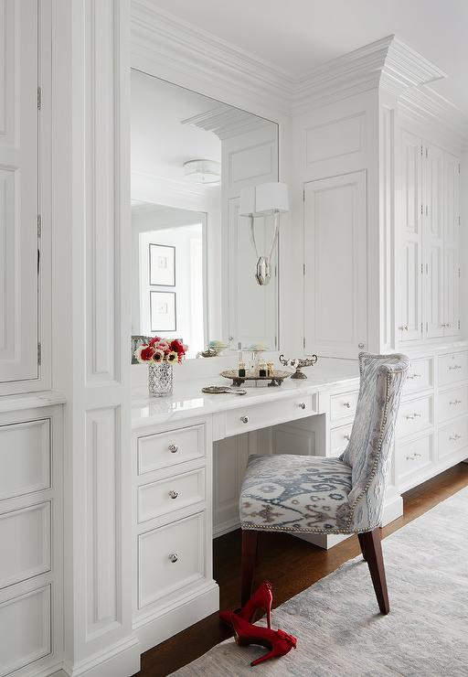 Built In Dressing Table With Lucite Vanity Chair