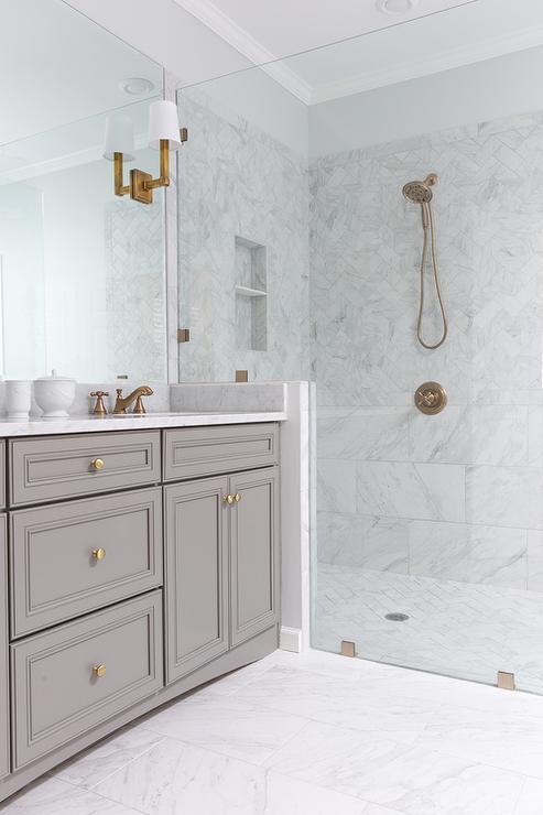 White Porcelain Marble Like Bathroom Tiles Contemporary Bathroom Benjamin Moore Chelsea Gray